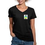 Noiret Women's V-Neck Dark T-Shirt