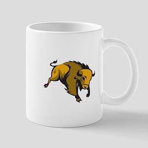 American Bison Charging Retro Mugs