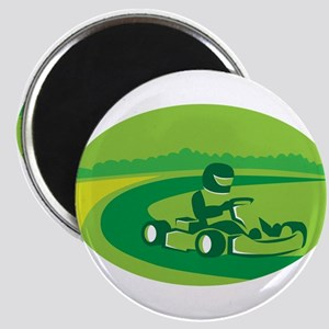 Go Kart Racing Oval Retro Magnets