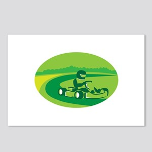 Go Kart Racing Oval Retro Postcards (Package of 8)