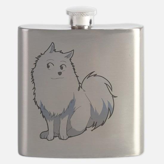 Cute American eskimo dog Flask