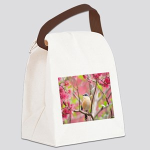 Painted Prinia In Pinks Canvas Lunch Bag