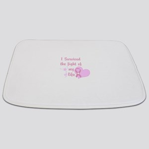 Breast Cancer Survivor Pink Heart Angel Bathmat