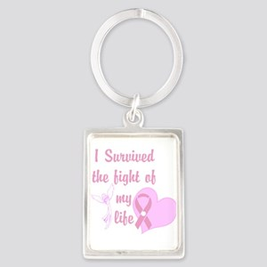 Breast Cancer Survivor Pink Heart Angel Keychains