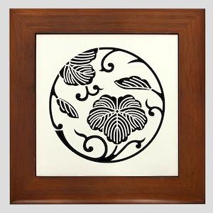 Ivy branch circle Framed Tile