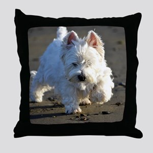 Beachcombing Westie Low Tide Throw Pillow