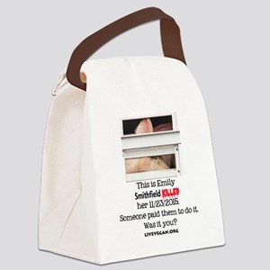 Emily the Pig Canvas Lunch Bag