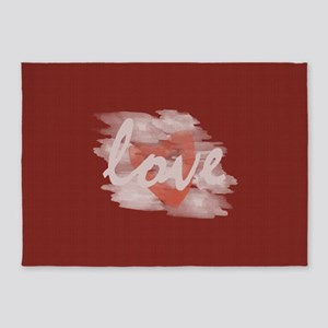 Cute Watercolor Love 5'x7'Area Rug