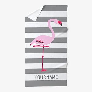 Monogrammed Stripes Flamingo Gray Beach Towel