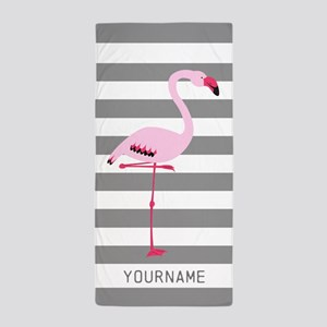 Monogrammed Stripes Flamingo Gray Beach Towel