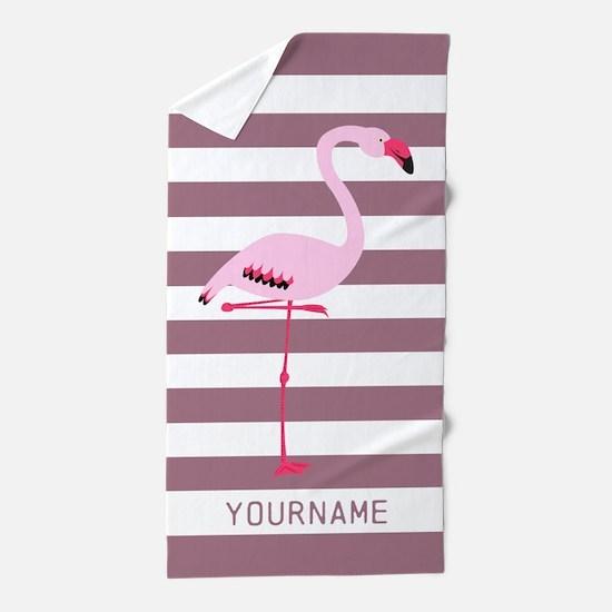Monogrammed Stripes Flamingo Pink Beach Towel