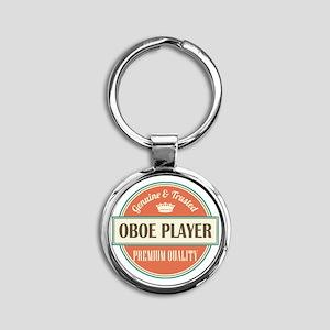 oboe player vintage logo Round Keychain