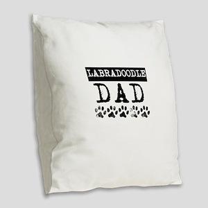 Labradoodle Dad Burlap Throw Pillow