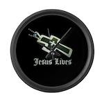 Jesus Lives (resized) Large Wall Clock
