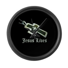 Jesus Lives (resized) Large Wall Clock