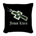 Jesus Lives (resized) Woven Throw Pillow