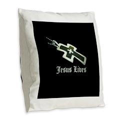 Jesus Lives (resized) Burlap Throw Pillow