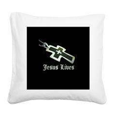 Jesus Lives (resized) Square Canvas Pillow