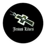 Jesus Lives (resized) Round Car Magnet