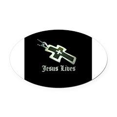 Jesus Lives (resized) Oval Car Magnet