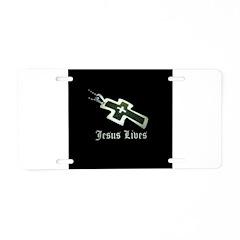 Jesus Lives (resized) Aluminum License Plate