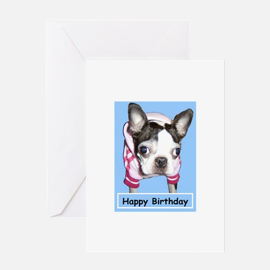 BOSTON TERRIER JOGGER BIRTHDAY Greeting Card