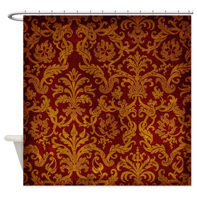 Royal red and gold shower curtain by trenditextures for Red and gold drapes