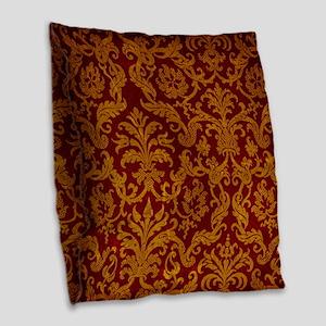ROYAL RED AND GOLD Burlap Throw Pillow