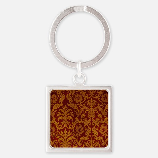 ROYAL RED AND GOLD Square Keychain