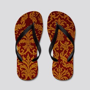 ROYAL RED AND GOLD Flip Flops