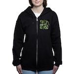 Green 420 Graffiti Collage Women's Zip Hoodie