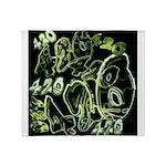 Green 420 Graffiti Collage Throw Blanket