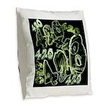 Green 420 Graffiti Collage Burlap Throw Pillow