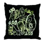 Green 420 Graffiti Collage Throw Pillow