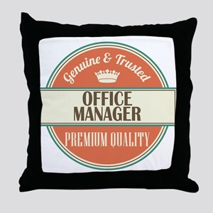 office manager vintage logo Throw Pillow
