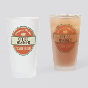 office manager vintage logo Drinking Glass