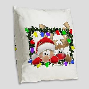 NEW! Sneaky Santa and Rudolph Burlap Throw Pillow