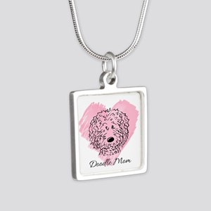 KiniArt Doodle Mom Silver Square Necklace