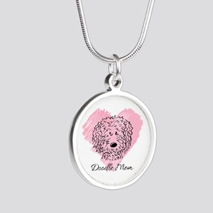 KiniArt Doodle Mom Silver Round Necklace
