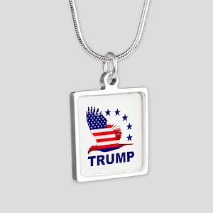 Trump For America Silver Square Necklace