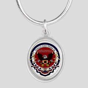 President Trump Silver Oval Necklace