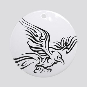 Crow Tribal Painting Faded Round Ornament