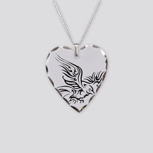 Crow Tribal Painting Faded Necklace Heart Charm