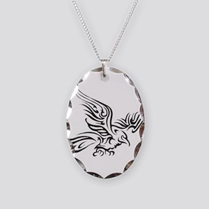 Crow Tribal Painting Faded Necklace Oval Charm