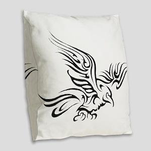 Crow Tribal Painting Faded Burlap Throw Pillow