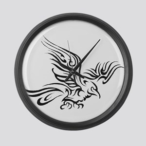 Crow Tribal Painting Faded Large Wall Clock
