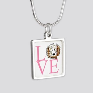 KiniArt Doodle Love Silver Square Necklace