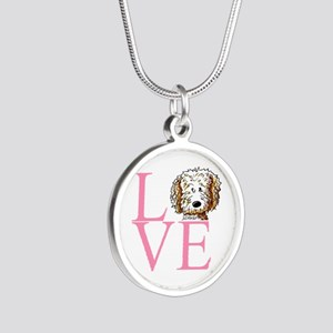 KiniArt Doodle Love Silver Round Necklace