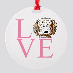 KiniArt Doodle Love Round Ornament