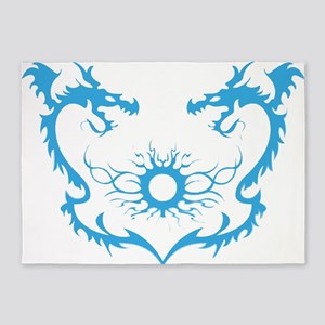 Twin dragons soul battle 5'x7'Area Rug
